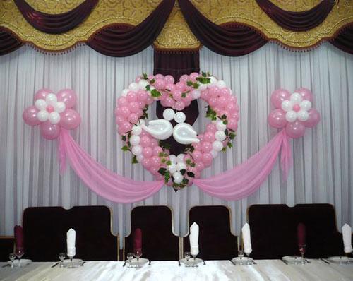 Фото оформление шарами свадебного зала